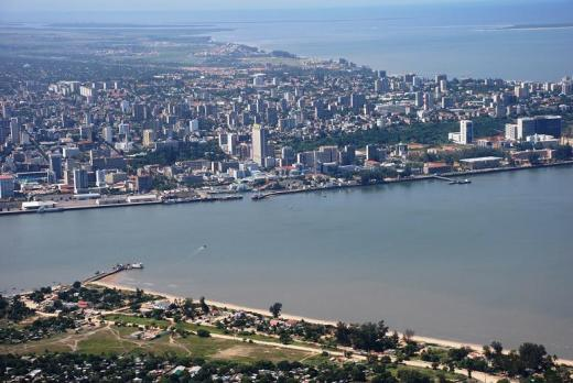 The short ferry route in Maputo from the air
