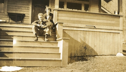 My grandparents on the front porch steps of the house.  These steps are no longer there.