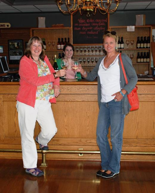 My sister and me at the Montinore tasting room