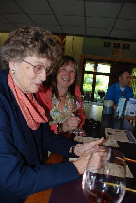 My mother and sister at the Montinore tasting room