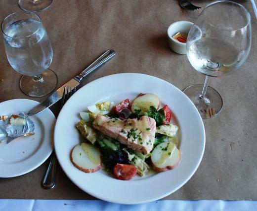 The poached salmon salad at Cuvee