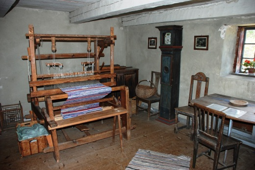 The interior of the 18th century fisherman's cottage at the Bunge open air museum