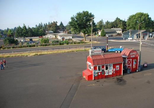 The coffee barn parking lot/landing zone