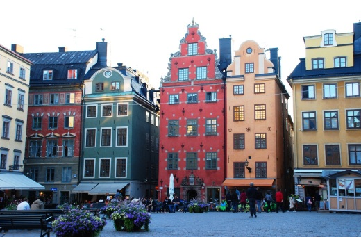 The most photographed square in Gamla Stan at twilight.