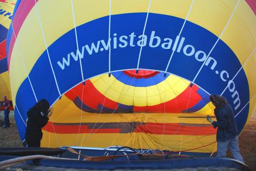 Using two large fans, the balloon is filled with cool air.