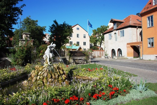 Fountain in the inner city of Visby