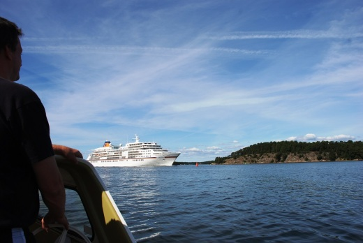 The cruise ship bearing down on us, coming out of Stockholms harbor.