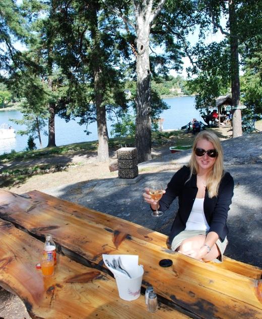 L at picnic table