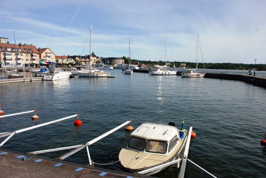 The little boat we rented in Vaxholm harbor.
