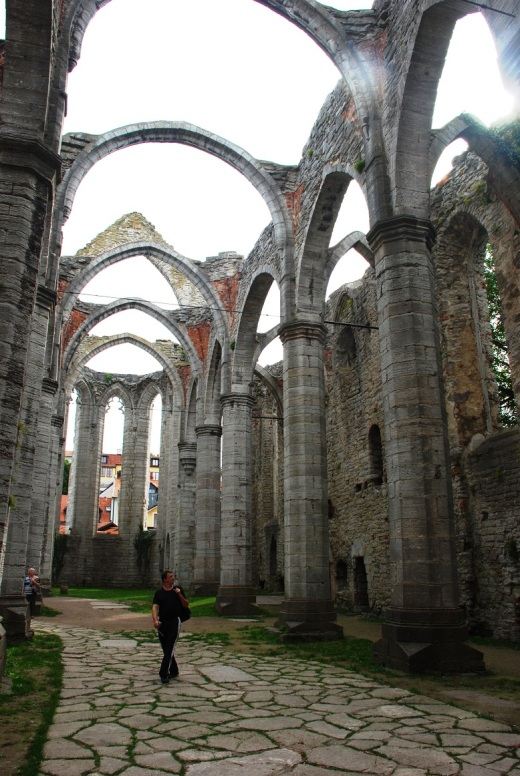 The interior of St. Catherine's Church ruin in the main square in Visby.
