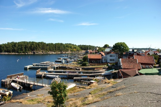 Waterfront houses along the approach to Sandhamn's harbor.