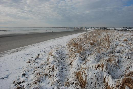 Beach snow at Old Orchard Beach, Maine.