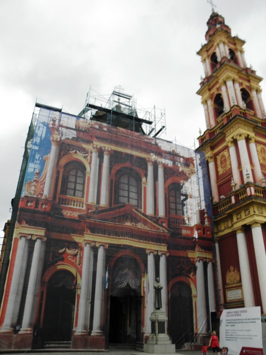 The exterior, under construction, of Iglesia y Convento San Francisco