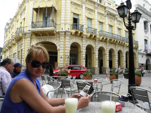 Enjoying a lemonade break on the main square