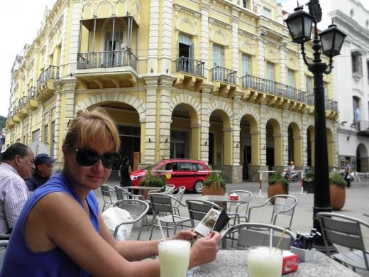 Enjoying a lemonade break on the main square