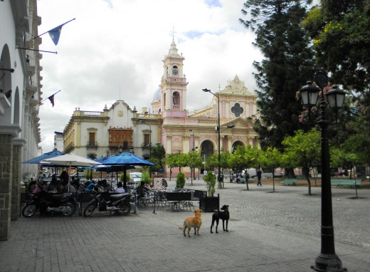 Lunch spot on the Plaza 9 de Julio.  We saw many street dogs, all of them friendly