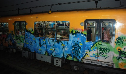 Graffiti on a subway car