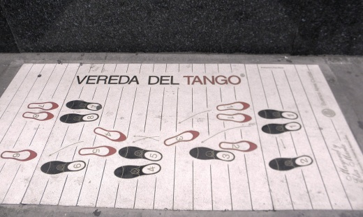 Tango steps in the sidewalk outside the Confiteria Ideal