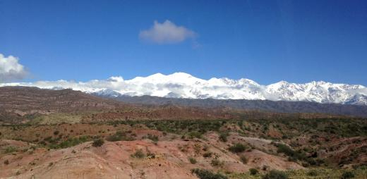 Our view out the window climbing out of Mendoza towards Chile.