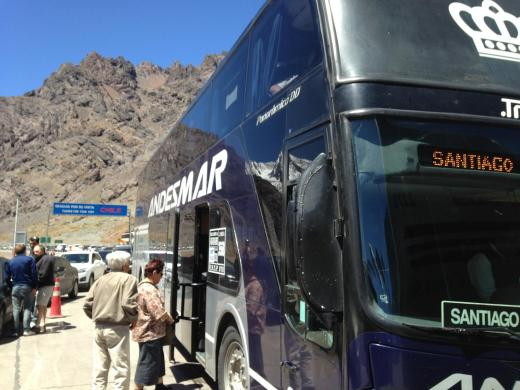 Our bus waiting to cross the border into Chile