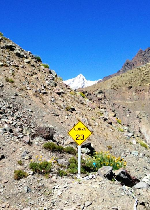 Somewhere near the top of the pass descending into Chile, we passed this sign indicating turn 23.