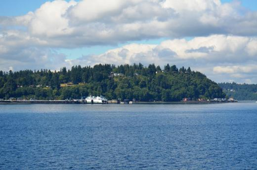 On the ferry, looking at Vashon Island.