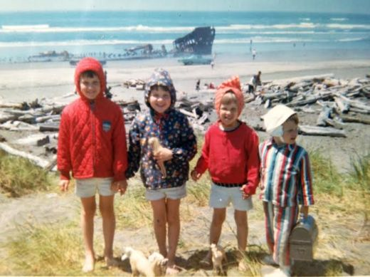 Family photo taken in 1967.  The wreck of the Peter Iredale is in the background.