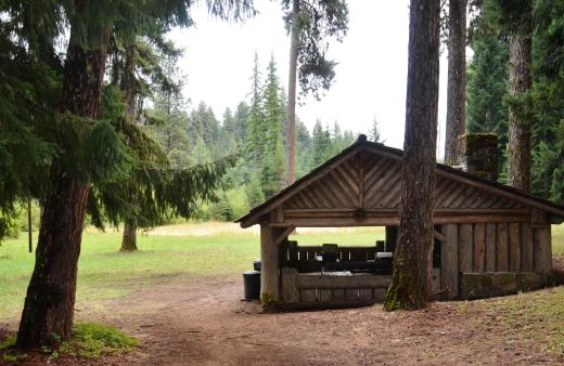 The very well constructed picnic shelter at Bear Springs on Mt. Hood