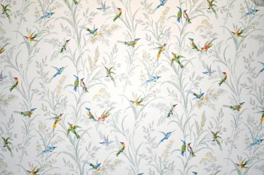 The wallpaper in the sewing room