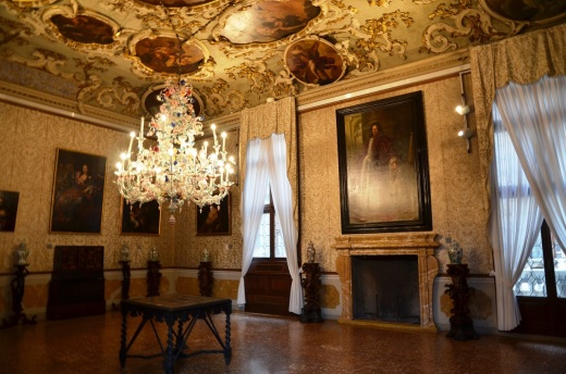 In one of the Ca' Rezzonico room's hangs a chandelier 350 years old.