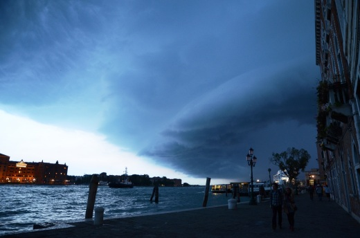 The same view looking west as the storm clouds rolled over Venice