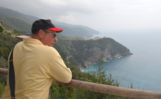 Augie taking a breather, with our destination of Corniglia in the background.