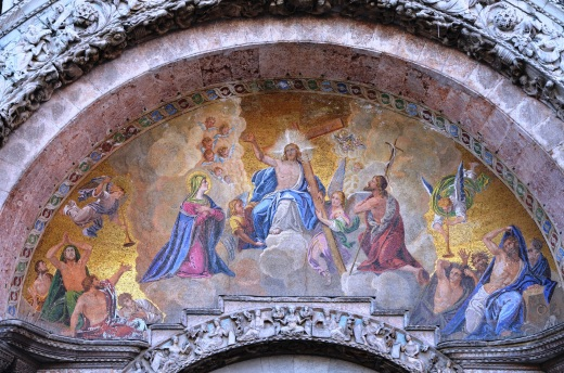 One of the beautiful mosaics on the Basilica San Marco's facade.