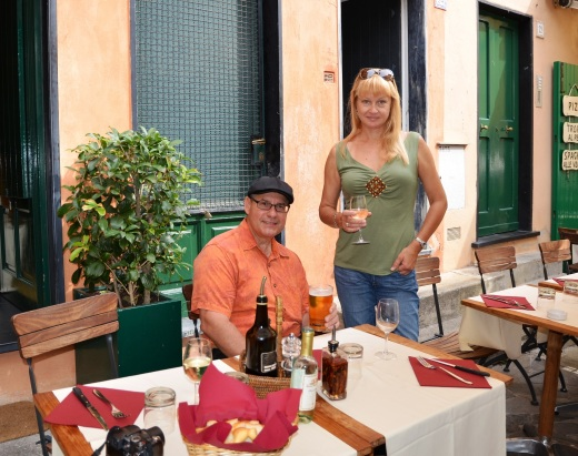 Lunch down a side street in Portofino