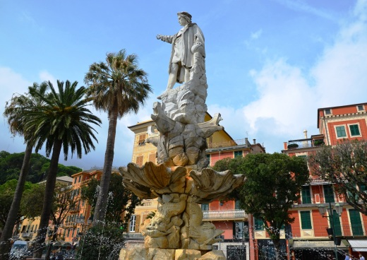 Christoforo Columbo guarding the Santa Margherita waterfront