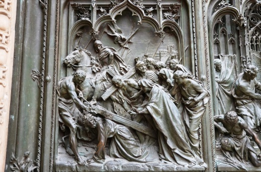 Detail from the front door of the Duomo
