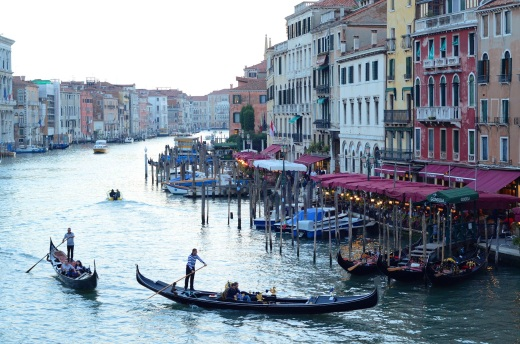 The Grand Canal from the Rialto Bridge at sunset