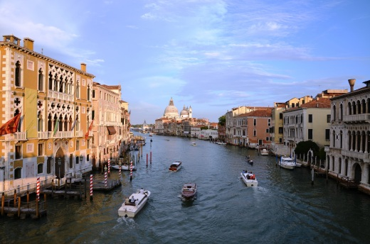 Looking east along the Grand Canal from the Accademia Bridge