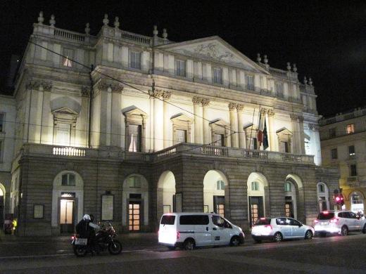 Teatro La Scala exterior at night