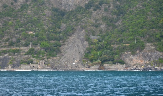 The landslide blocking a portion of The Cinque Terre trail, as seen from the ferry