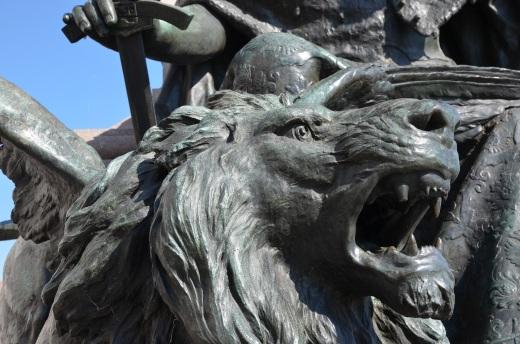 Lion detail from a statue on the Molo riva degli Schiavoni near the Palazzo Ducale