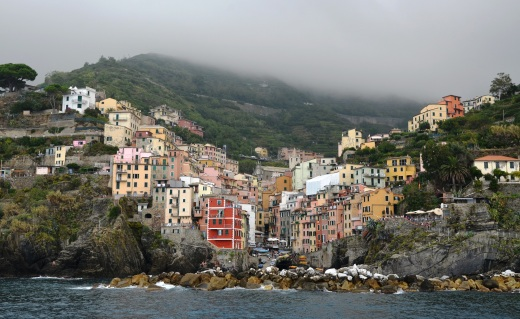 Manarola as seen from the ferry as we sailed past