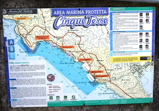A map of the trail coming into Corniglia