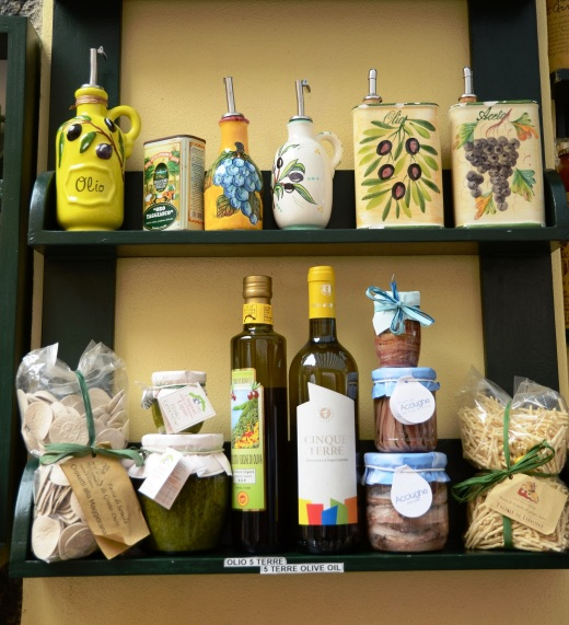 Cinque Terre olive oil for sale in a shop in Vernazza