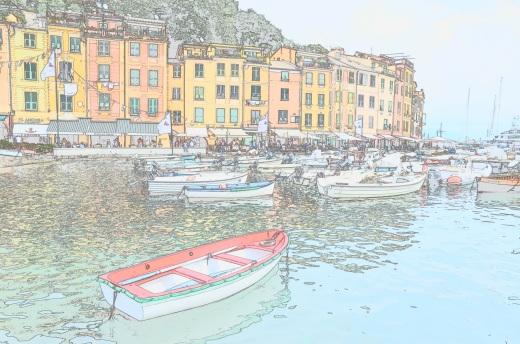 portofino boat watercolor