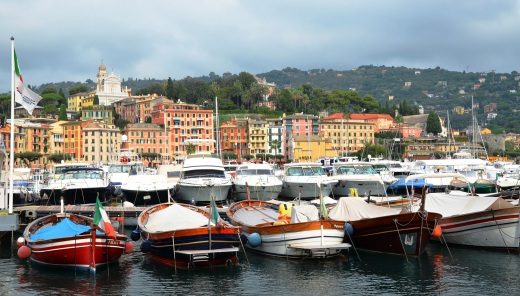 Boats in the Santa Margherita harbor