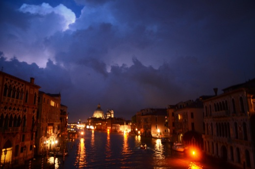 On our return from the super marche we stopped in the same spot and took another photo looking east along the Grand Canal as lightning illuminated the clouds