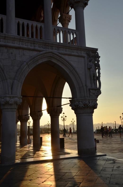 Corner of the Doge's Palace at sunrise