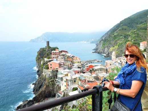 My friend Teresa overlooking Vernazza, in the early part of the hike