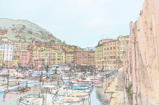 """The same port photo using the Nikon """"color sketch"""" feature.  OK, the camera is new to me and I am still figuring out all the features.  It's fun."""